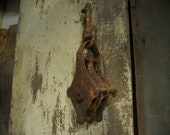 Antique Barn Pulley, Industrial Cast Iron Pulley, Rope pulley, Straight off the farm