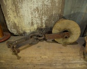 Vintage Barn Pulley, 1800 quot s Pulley, Rope pulley, Straight off the farm, steampunk