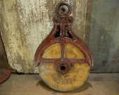 Antique Hudson Barn Pulley, Industrial Cast Iron Pulley, Rope pulley, Straight off the farm