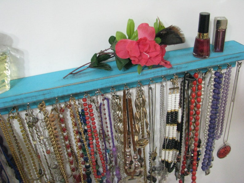 Necklace Holder Necklace Organizer Many colors Turqouis 24 inch. Large Necklace Hanger