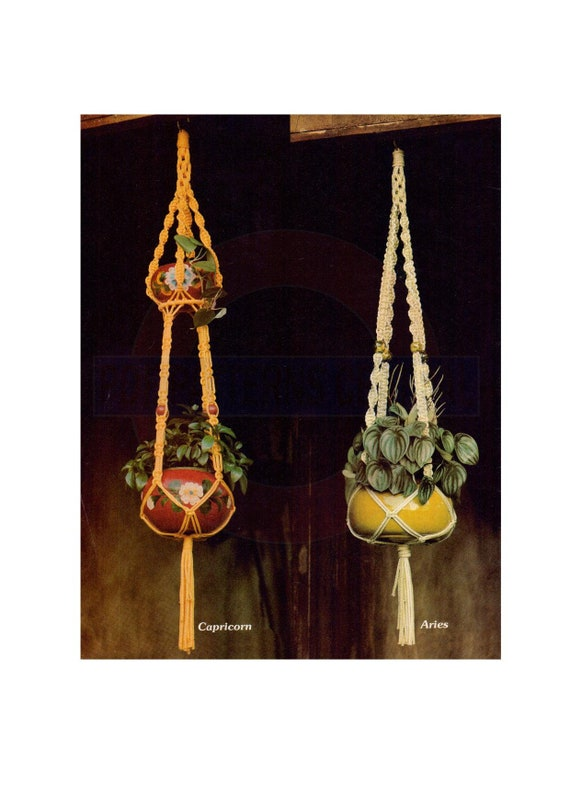Vintage 70s Oasis Macrame Plant Hanger Pattern Instant Download PDF 2 pages plus additional Knots and Techniques file