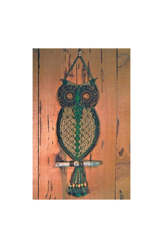 Macrame Owl Pattern How to Macrame Vintage 1970/'s Wall Hanger Digital Pattern Instant Download