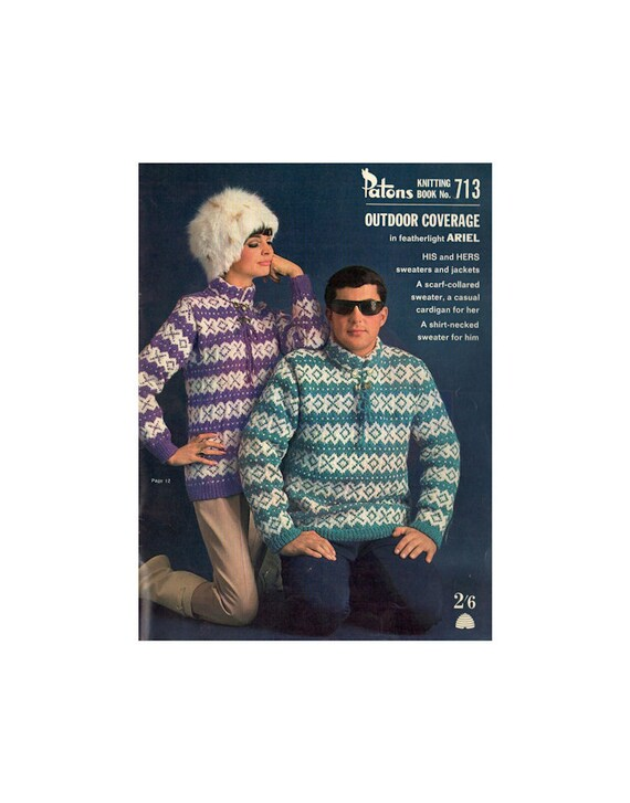 Patons 713 60s Knitting Patterns For Jumpers Cardigans Etsy