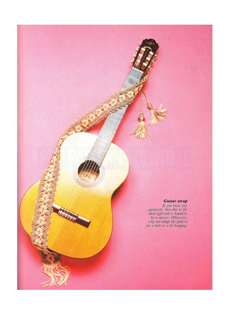 Vintage 70s Macrame Guitar Strap Pattern Instant Download PDF 2 pages