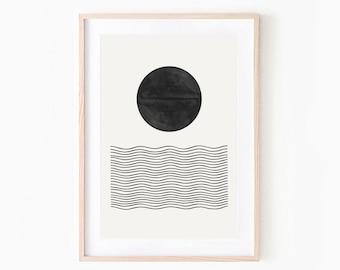 Woodblock Print, Mid Century Modern, Minimalist Artwork, Bohemian Modern, Scandinavian Chic, Interior Design, Printable Prints, Ocean