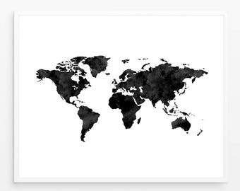 Black world map etsy world map poster water color world map world map print black and white world map scandinavian print map poster world map printable gumiabroncs Image collections