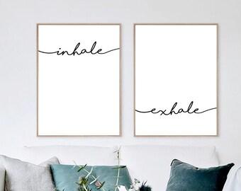 Inhale Exhale Print, Yoga wall art, Wall Prints, Inhale Exhale, Pilates Art, Relaxation Gift, Breathe Print, Yoga, Inhale Exhale Sign,