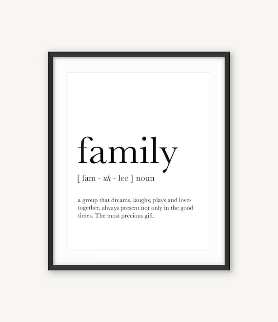 Family Wall Art Family Definition Funny Definition Art Etsy