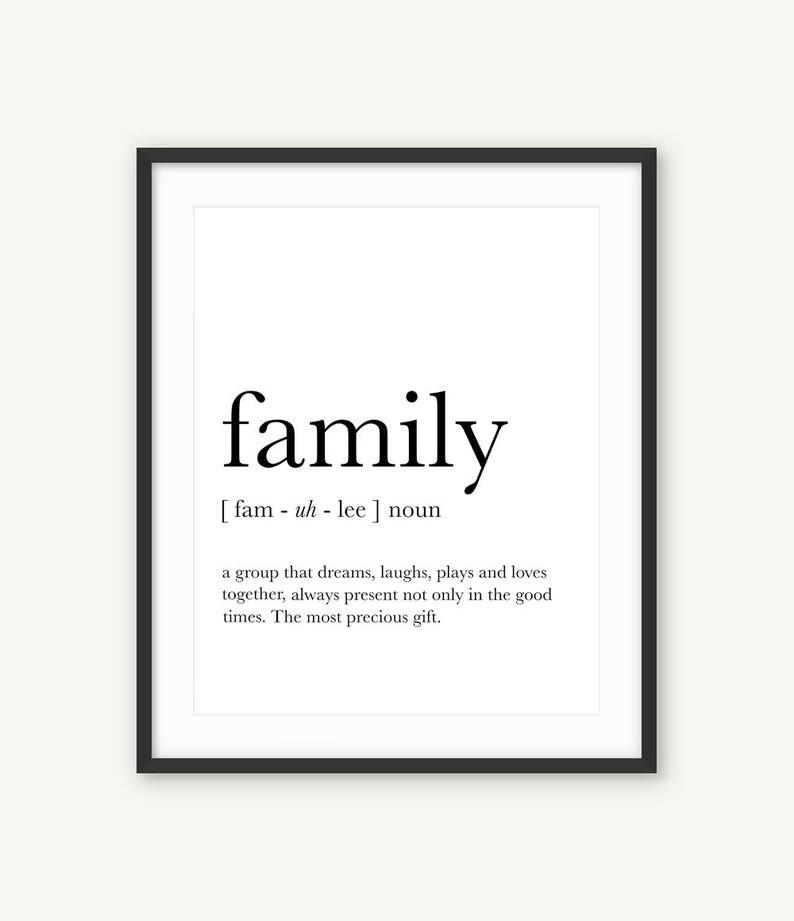 Family wall art Family definition Funny definition art | Etsy