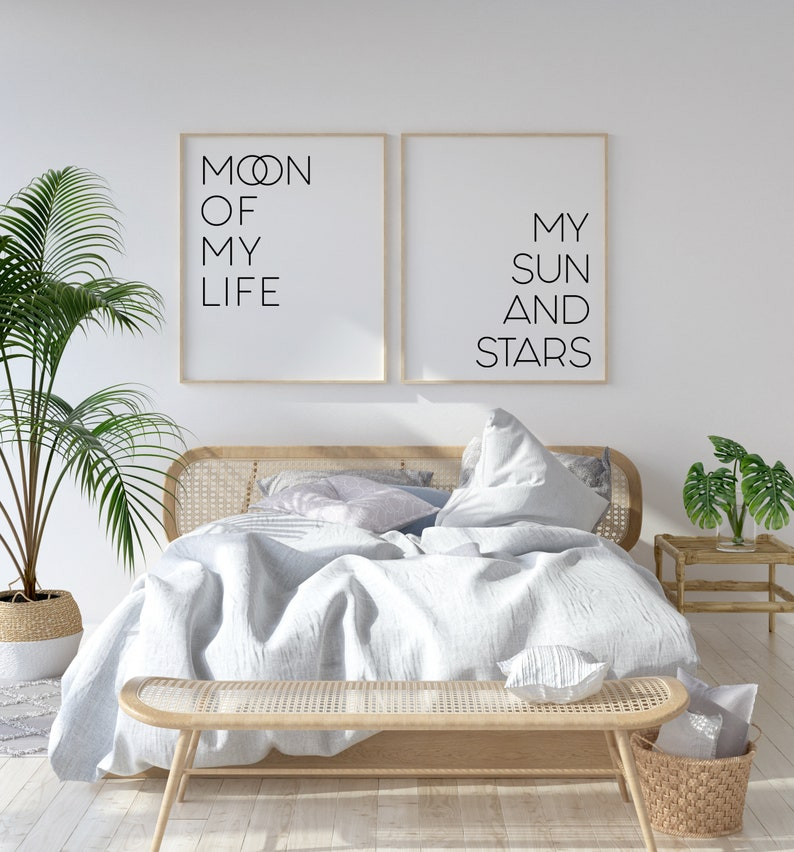Moon of my life My Sun and Stars Above Bed Decor Wedding image 0