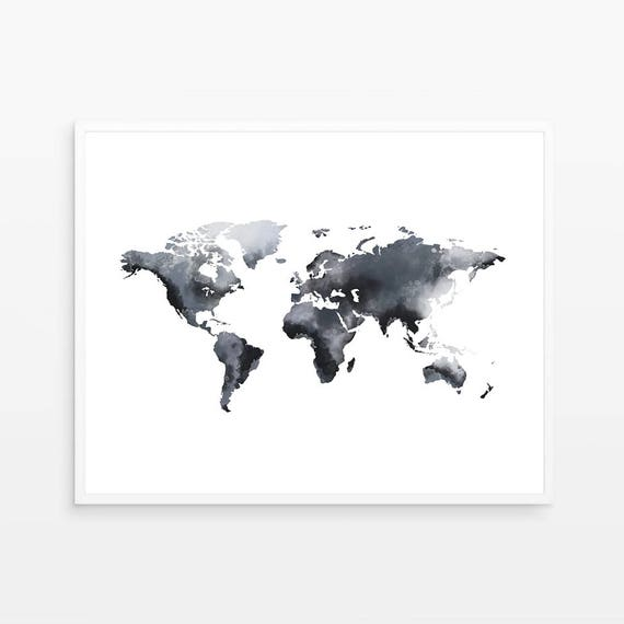 Blue world of map world map artwork watercolor world map etsy image 0 gumiabroncs Images