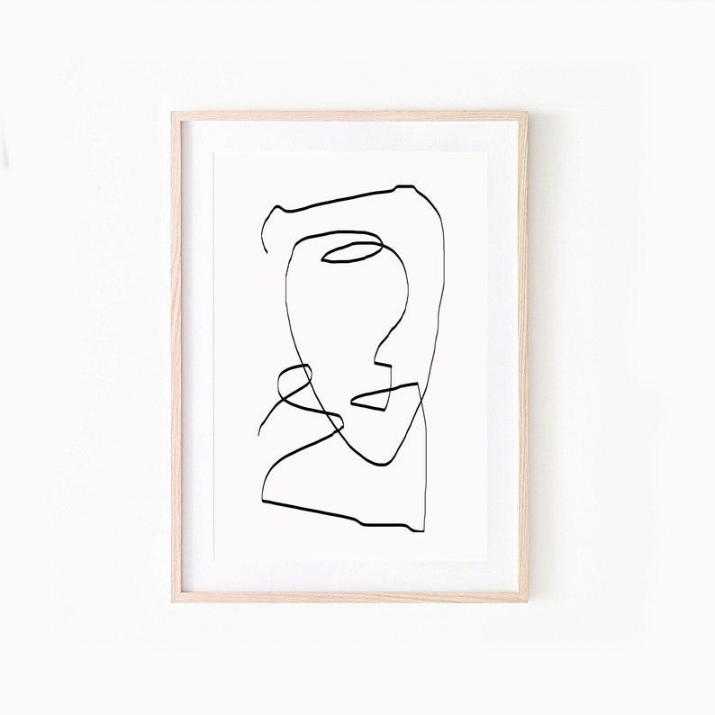Printable Wall Art Modern wall Art Line Drawing One Line image 0