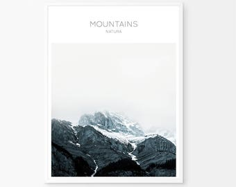 Mountain Print, Landscape Print, Blue Navy Print, Mountain Wall Art, Wall Print Art, Printable Art, Mountain Photo Print, Mountain Art,