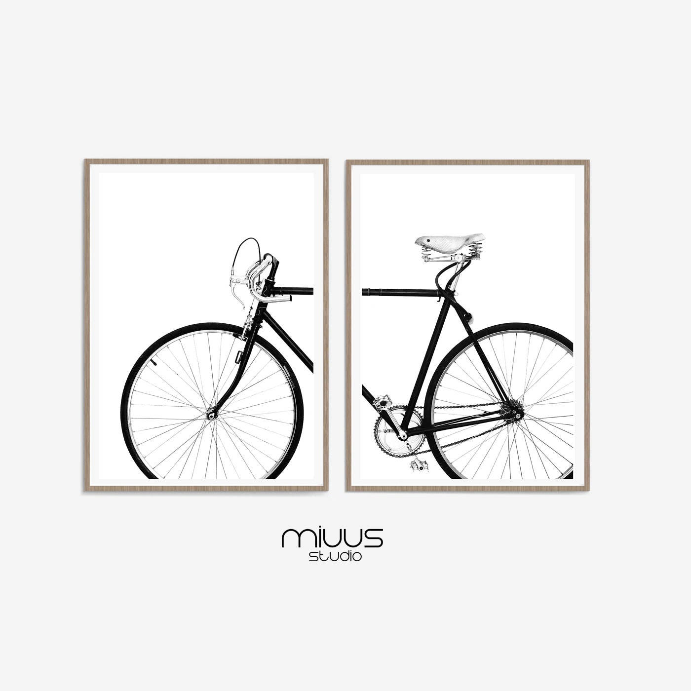 Bicycle Wall Art Black and White Prints Set of Two Prints