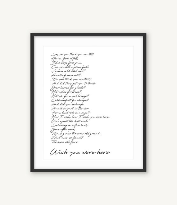 Wish You Were Here, Pink Floyd Lyrics Poster, Art Print, Black and White Song Citazione, Song Lyrics Word Wall Art, Typography Song, Music Lyric