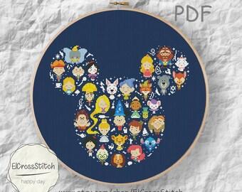 50% OFF SALE,Mini Pixel Cartoon Hero Cross Stitch Pattrn,Mouse Silhouette Chart ,Xstitch pattern Needlework PDF Instant download,S095