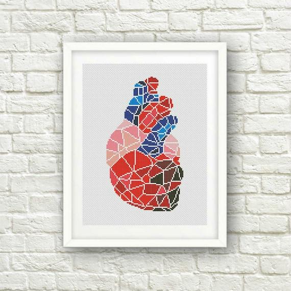 BOGO FREE Geometric Heart Cross Stitch Pattern Human | Etsy