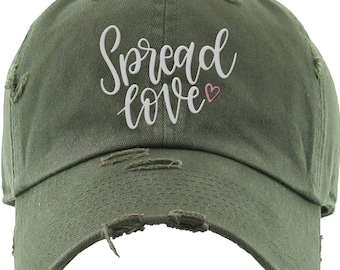 b5d9ef031dc27 Spread Love Distressed Hat