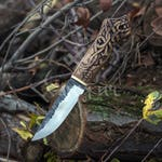 Hand forged knife, with head of a dragon on the handle, viking knife, Drakkar, bushcraft, survival, camping, hand crafted knife
