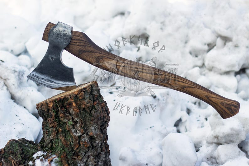Hand forged Two-handed axe from 52100 High Carbon Steel, felling axe,  chopping axe, scandinavian felling axe, felling hatchet