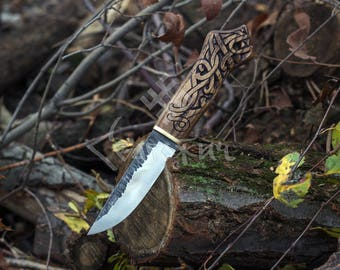 Hand-Forged Knife with Dragon Head on the Handle, Viking Knife, Drakkar, Bushcraft, Survival, Camping, Hand-Crafted Knife