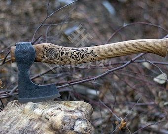 Hand-Forged Viking Axe, High Carbon Steel, Leather Case, Hatchet, Viking Bearded Axe, Camp Hatchet