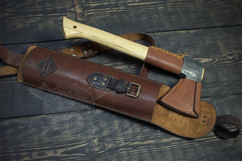 Shoulder Leather case for axe made by hand.
