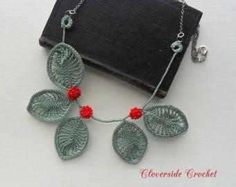 boho necklace, boho chic, floral necklace, fiber necklace, textile necklace, statement necklace, crochet necklace, beaded necklace, for her