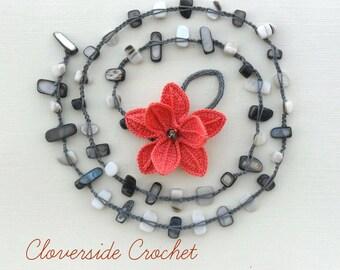 floral necklace, fiber necklace, textile necklace,   statement necklace,  crochet necklace,boho necklace, boho, festival fashion, statement