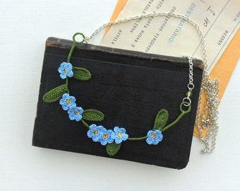 floral necklace, fiber necklace, textile necklace, statement necklace, crochet necklace, forget-me-nots, boho, mother's day gift