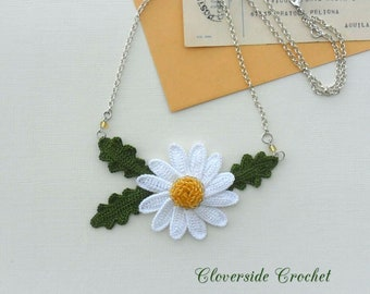 floral daisy necklace, fiber necklace, textile necklace,   statement necklace, crochet necklace, romantic, boho chic, Mother's Day