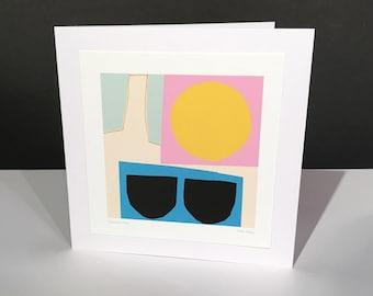 Summer Heat. Fine Art Card. Abstract Themed Handmade Card. Any Occasion Card.