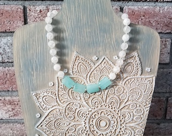 Crystal necklace/Crystal jewelry/Healing Quartz beaded necklace/Statement necklace