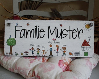 Shabbystyle-door sign family with first names-