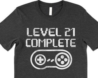 ee12d9688b Funny Gamer 21st Birthday Shirt. Level 21 Complete Gamer Birthday T Shirt.  Video Game Shirt.