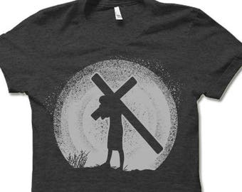 Jesus Silhouette Shirt  Christian Cross T Shirt.