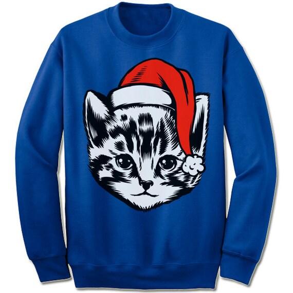 Christmas Cat Sweater.Cute Christmas Kitty Cat Sweater Sweatshirt Christmas Gift Ugly Christmas Sweater Ugly Xmas Sweater