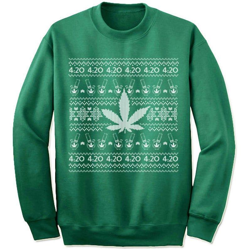 c42044e9df65 4 20 Weed Marijuana Ugly Christmas Sweater Sweatshirt for Men