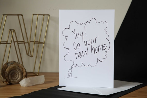 New Home, Monochrome Greetings Card