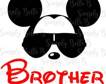 Mickey Sunglasses Brother INSTANT DOWNLOAD Printable Digital Iron-On Transfer Design - DIY