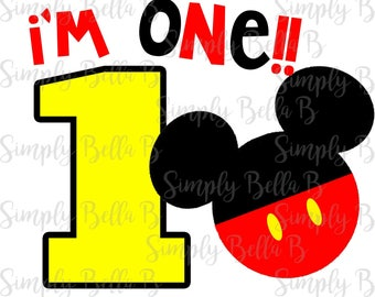 I'm One Mickey Mouse INSTANT DOWNLOAD Printable Digital Iron-On Transfer Design - DIY