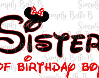 Sister of the Birthday Boy Minnie Mouse INSTANT DOWNLOAD Printable Digital Iron-On Transfer Design - DIY