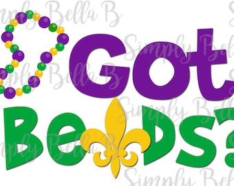 Got Beads Mardi Gras INSTANT DOWNLOAD Printable Digital Iron-On Transfer Design - DIY