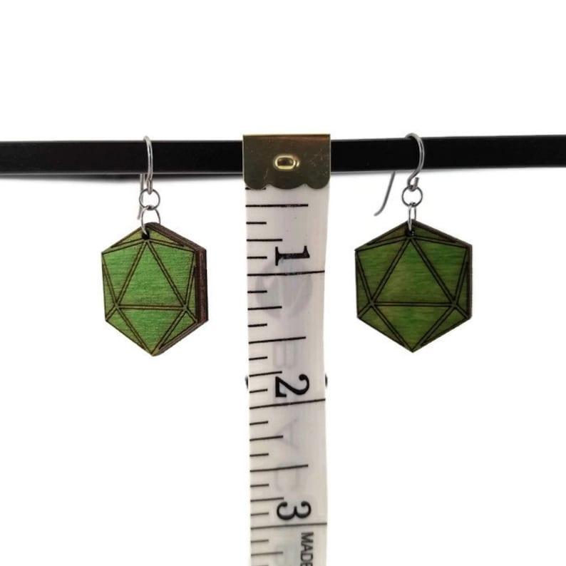 Birthday Gift Gamer Gift for girlfriend Niobium Dice Earrings Geometric Laser Cut Icosahedron Jewelry D20 Green Wood Earrings
