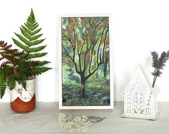 Oil Painting of Tree by Artist Molly Lemon | Landscape Art | British Woodland | Forest | Colour | Nature | Bristol | Dartmoor | Framed