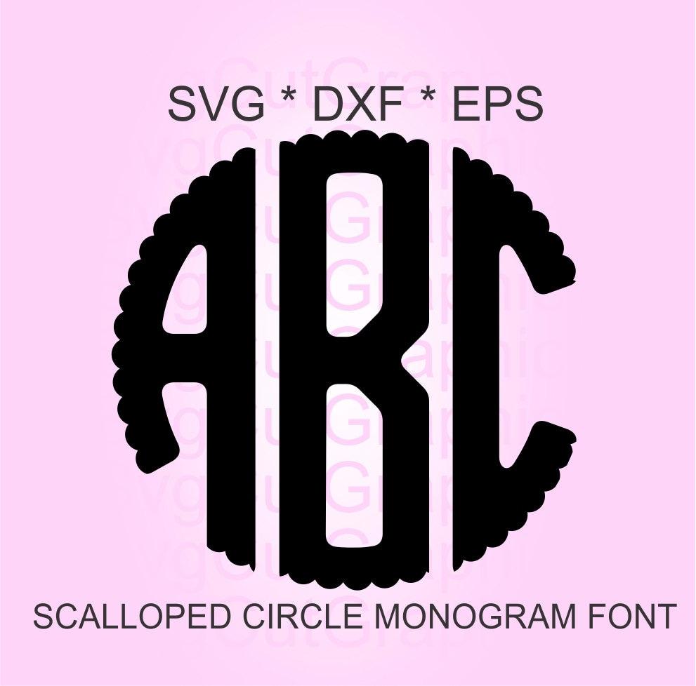 Scalloped Circle Monogram SVG Font Svg Files Svg Scalloped   Etsy