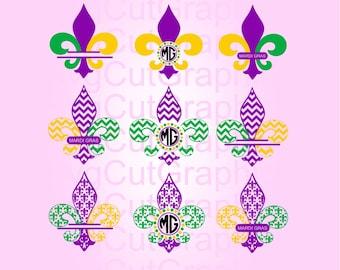 Fleur de Lis Mardi Gras Svg Files, Mardi Gras Monogram, Fleur de Lis Svg, Svg Files for Cricut, Silhouette SVG Files, Cricut Svg Files