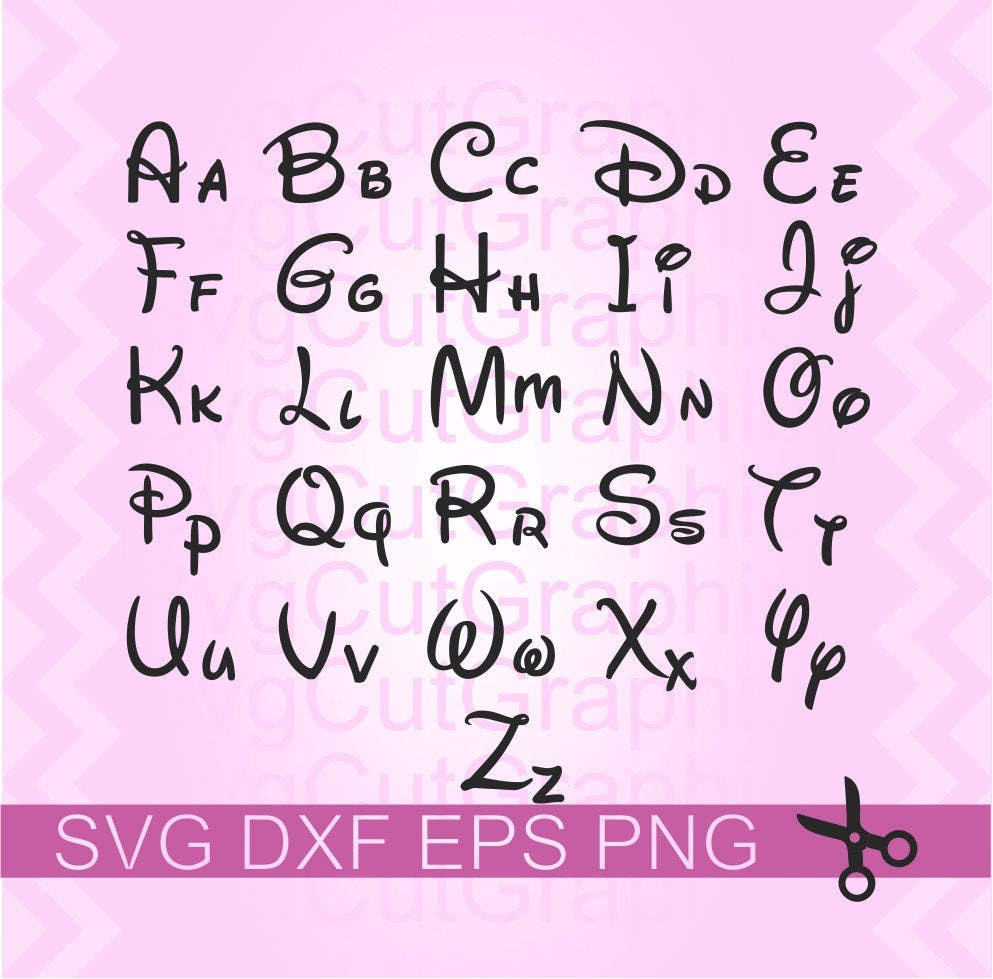 Sale Disney Svg Font Disney Alphabet Svg Files Svg Cutting Etsy