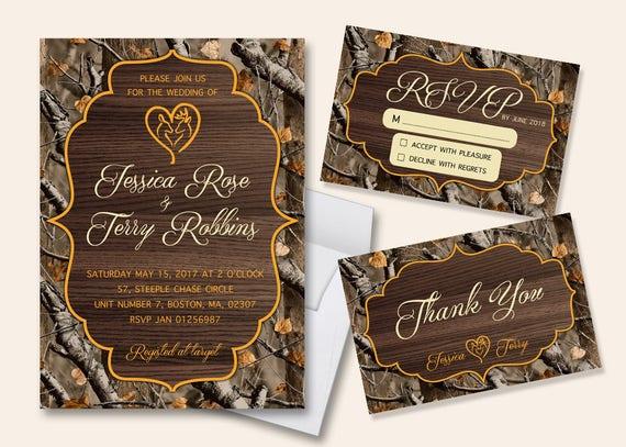 Camouflage Wedding Invitation Kits: Rustic Wedding Invitation Wedding Invitation Camo Wood