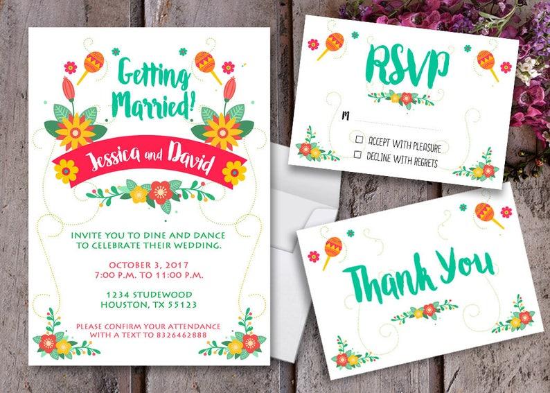 Mexican Wedding Invitation Mariachi Wedding Mariachi Etsy